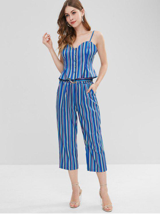lady Button Up Stripes Top and Pants Set - MULTI S