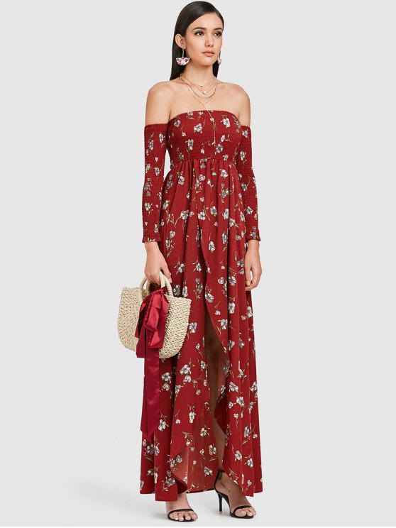 84475c23e42 2019 ZAFUL Off Shoulder Floral Maxi Dress In RED WINE M