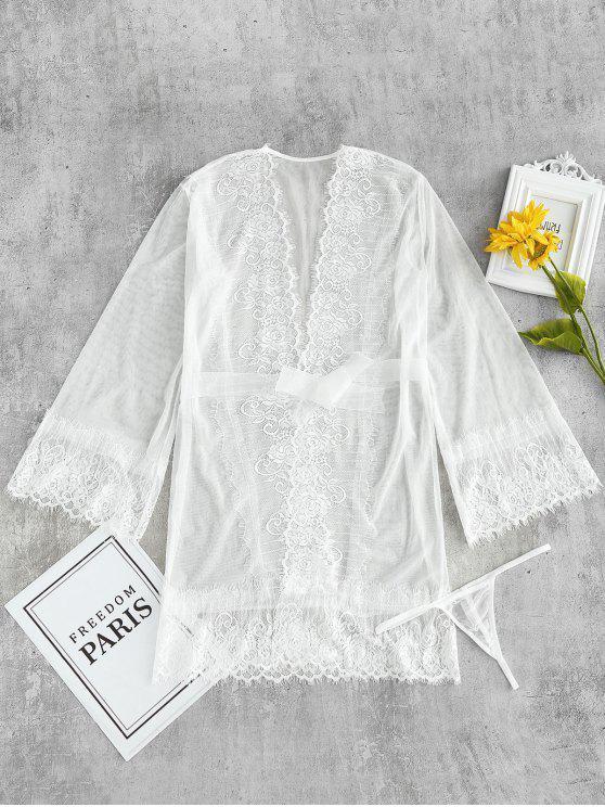 Set Lingerie In Tulle Trasparente - Bianco Taglia unica