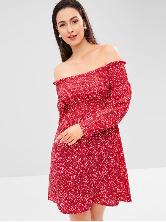chic Polka Dot Smocked Mini Dress - RED ONE SIZE