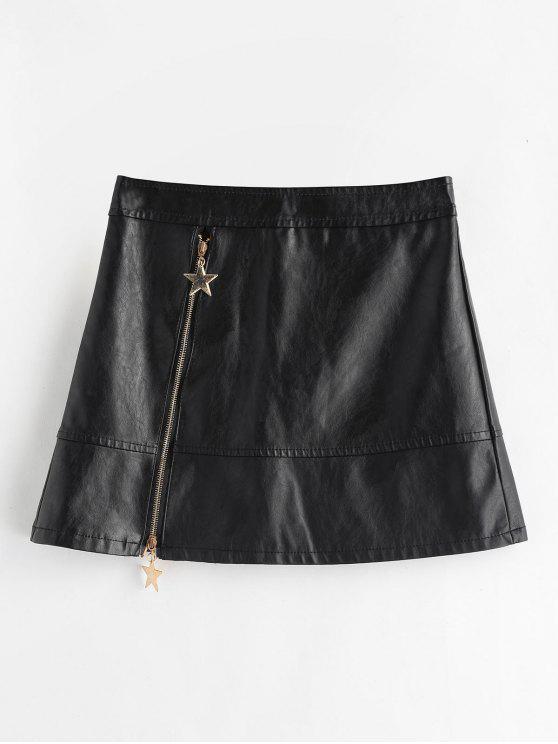 buy PU A Line Skirt - BLACK L
