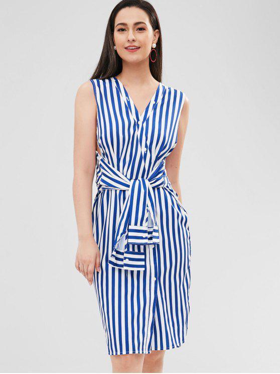 ladies Striped Belted V Neck Sleeveless Dress - COBALT BLUE S