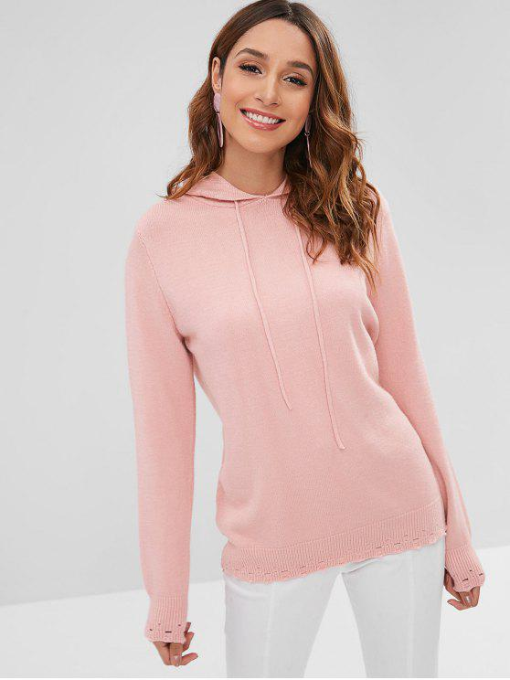 shop Solid Color Hollow Out Hooded Sweater - PINK ONE SIZE