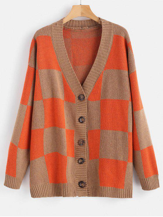 fancy Buttoned Checkered Loose Cardigan - ORANGE ONE SIZE