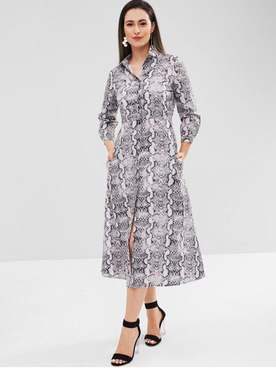 affordable Snakeskin Button Up Tea Length Dress - GRAY S