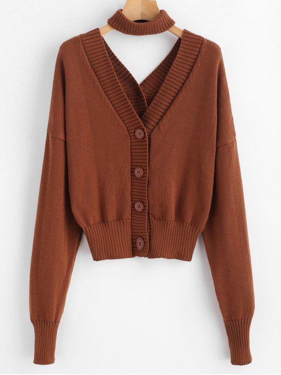 outfit Button Up Dolman Cardigan With Choker - BROWN ONE SIZE