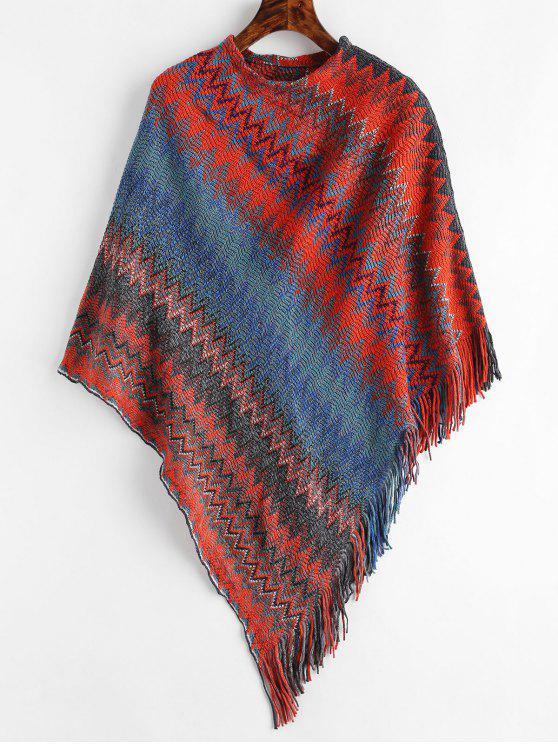 Maglione Geometrico Con Frange - Rosso Una Taglia