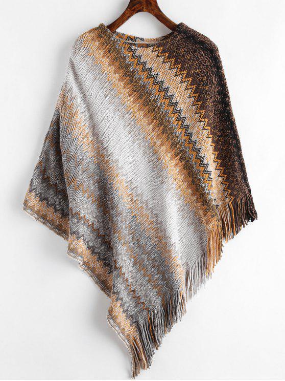 Maglione Geometrico Con Frange - marrone chiaro Taglia unica