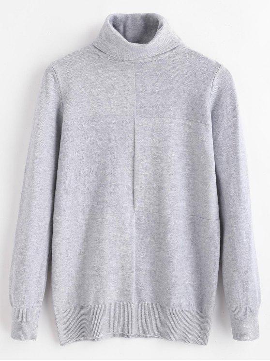 fancy Soft Turtleneck Shadow Block Sweater - GRAY ONE SIZE