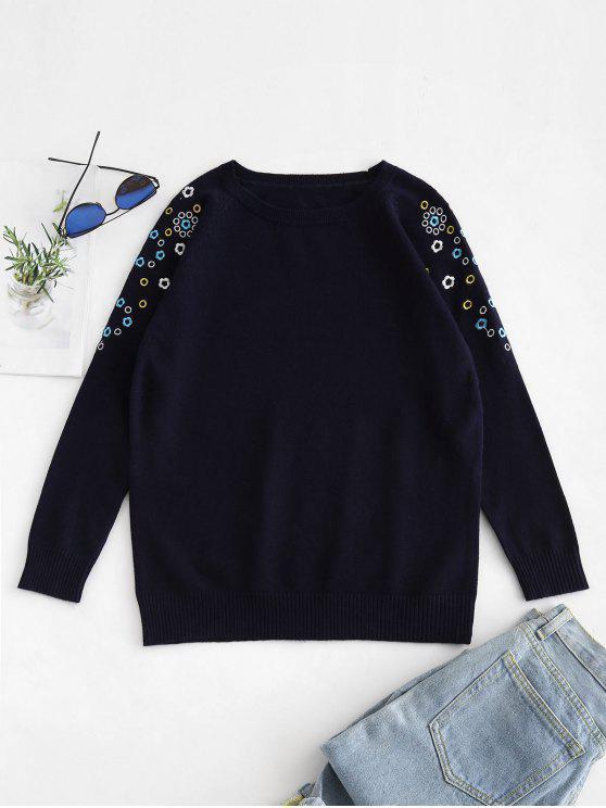 Maglione Ricamato Floreale Con Maniche Lunghe - blu scuro Taglia unica