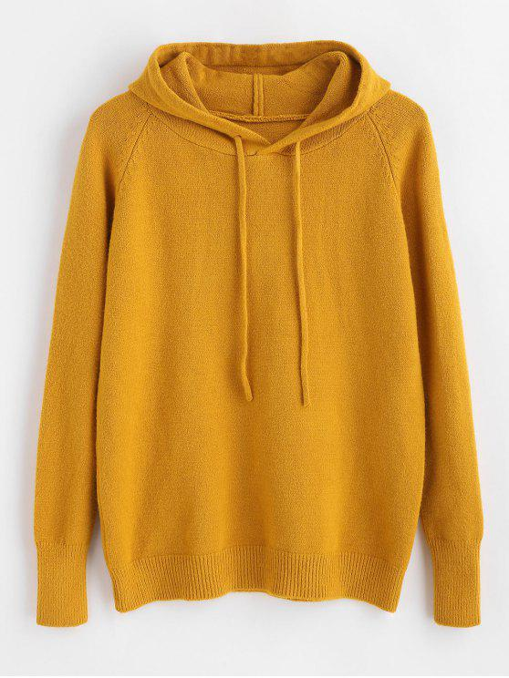 buy Raglan Sleeve Hooded Sweater - GOLDEN BROWN ONE SIZE