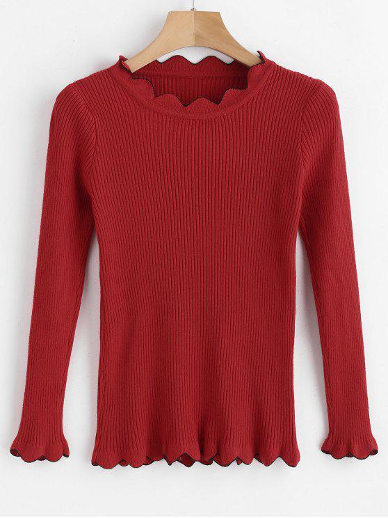 Maglione Con Bordo Smerlato A Contrasto - Rosso Una Taglia