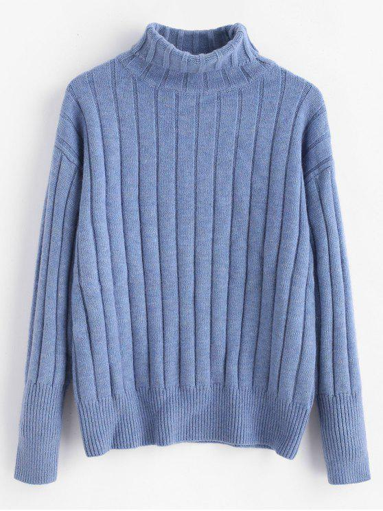 online Ribbed Turtleneck Sweater - CORNFLOWER BLUE ONE SIZE
