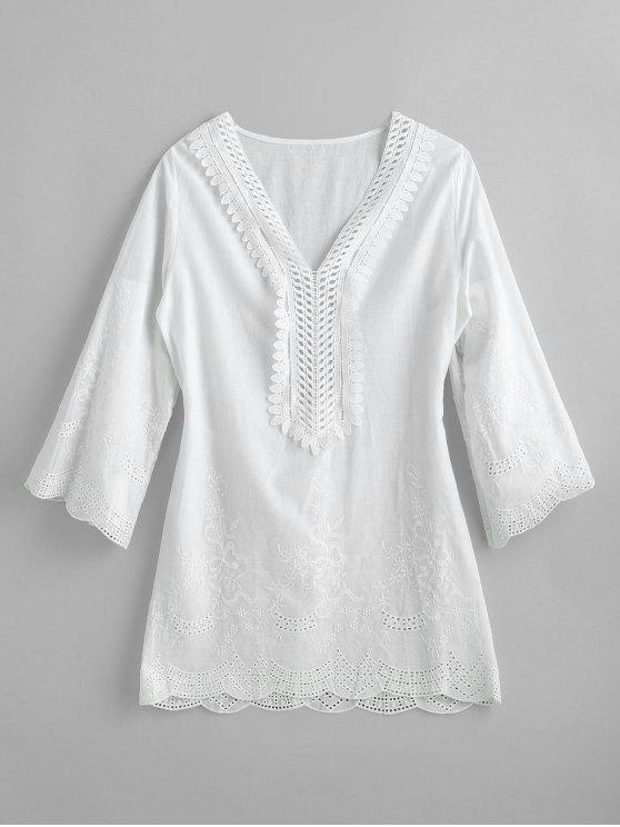 affordable Lightweight Woven Embroidered Tunic Top - WHITE M