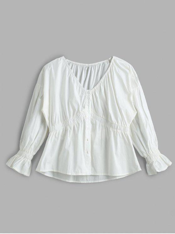 Blusa elástica de botão para baixo - Branco Um Tamanho