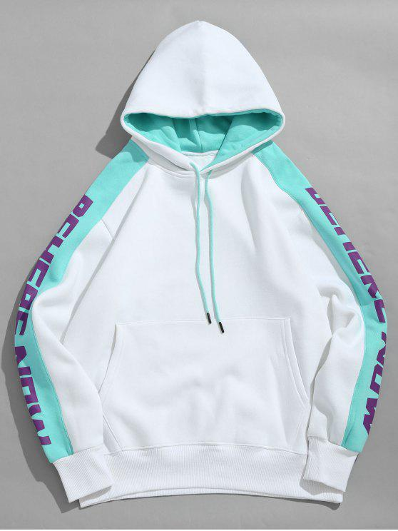 best Letter Striped Contrast Fleece Hoodie - WHITE 2XL