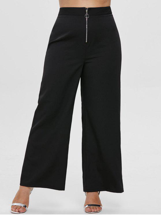 trendy ZAFUL Plus Size Wide Leg Front Zip Pants - BLACK 1X