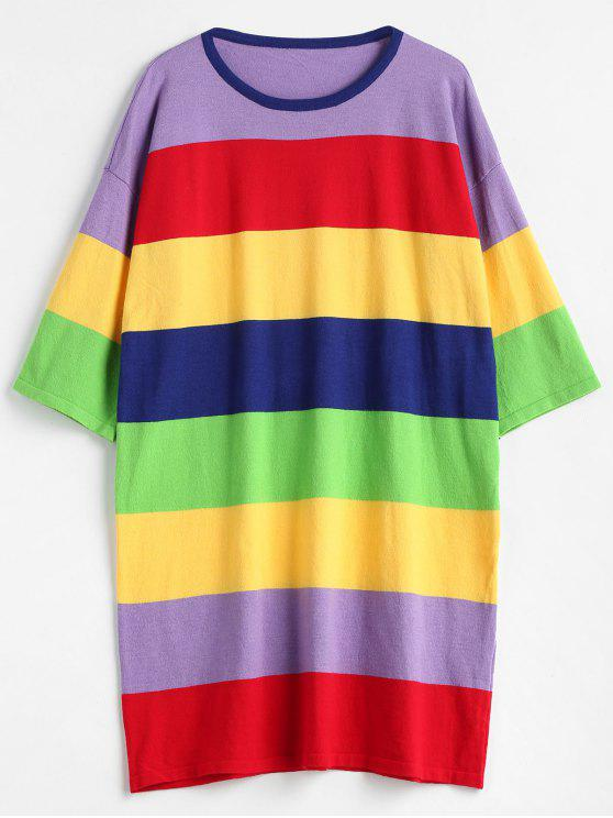 women Colorful Stripes Sweater Mini Dress - MULTI ONE SIZE