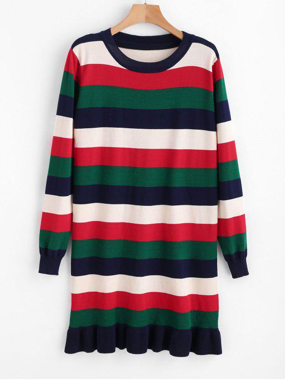 ladies Stripes Ruffles Sweater Dress - MULTI ONE SIZE