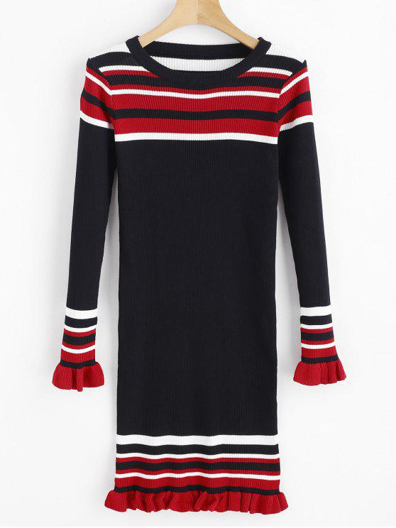 lady Stripes Ruffles Ribbed Sweater Dress - BLACK ONE SIZE