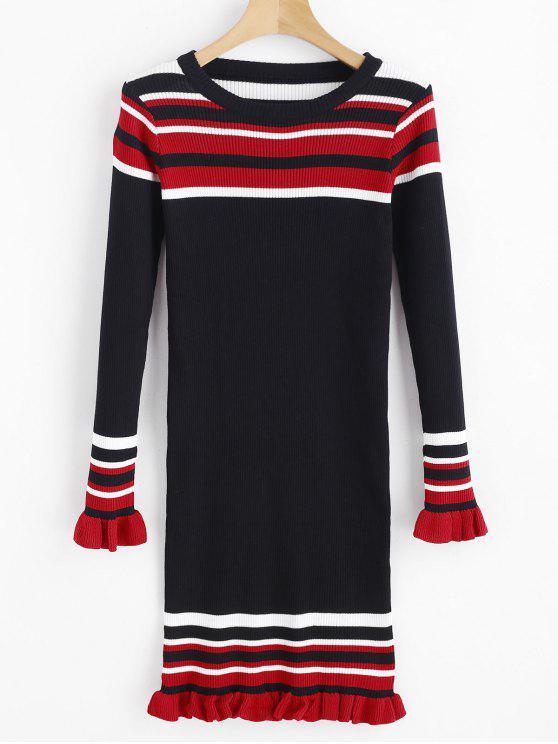 Streifen Rüschen Ribbed Sweater Dress - Schwarz Eine Größe