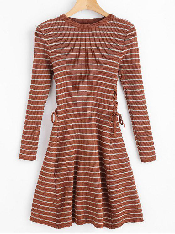 new Stripes Ribbed Lace Up Sweater Dress - BROWN ONE SIZE