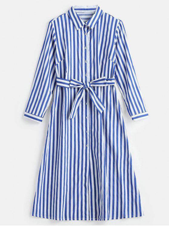 كم طويل مقلم قميص ميدي اللباس - أزرق L