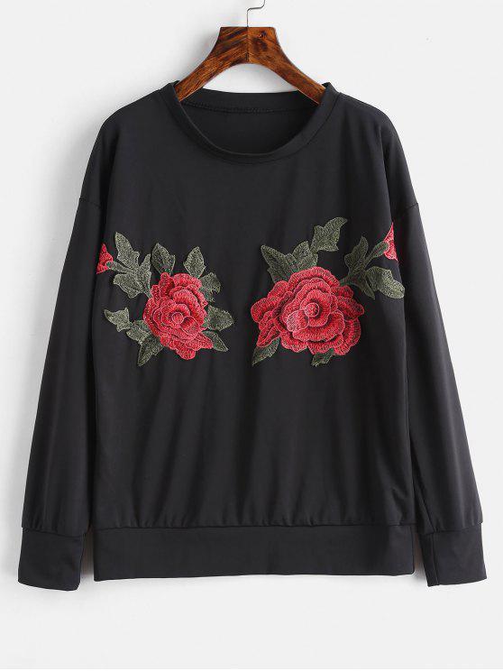 women Appliques Sweatshirt - BLACK M