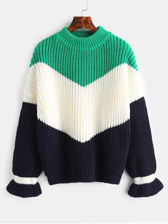 latest Chunky Knit Color Block Sweater - CLOVER GREEN ONE SIZE