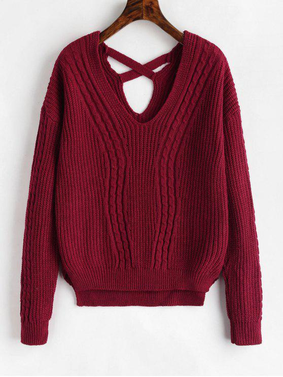 trendy Cross Strap Cable Knit Sweater - RED WINE ONE SIZE