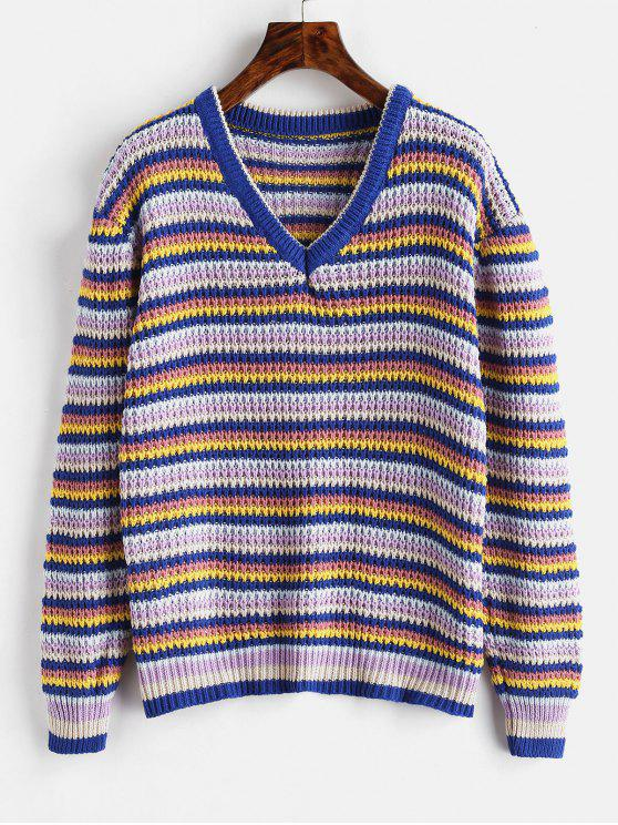 chic Loose Stripes V Neck Sweater - BLUEBERRY BLUE ONE SIZE