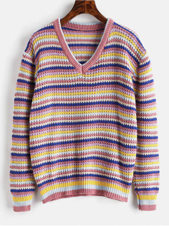Loose Stripes V Neck Sweater - Хаки розовый Один размер
