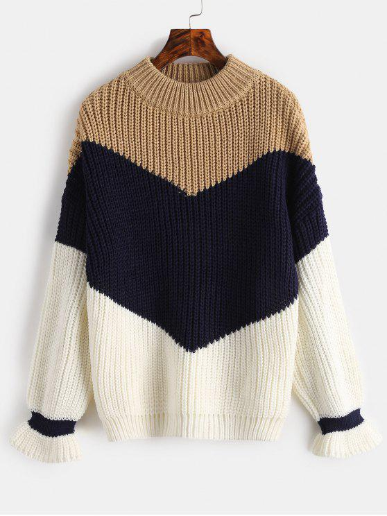 buy Chunky Knit Color Block Sweater - CAMEL BROWN ONE SIZE