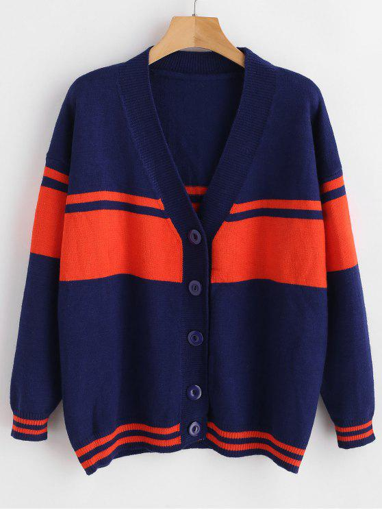 womens Button Up Color Block Tunic Cardigan - NAVY BLUE ONE SIZE