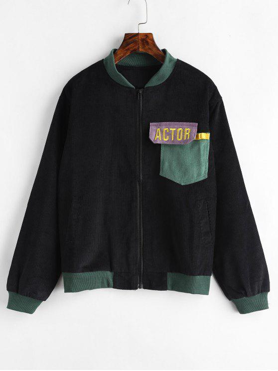 online Pocket Zip Up Corduroy Jacket - BLACK S