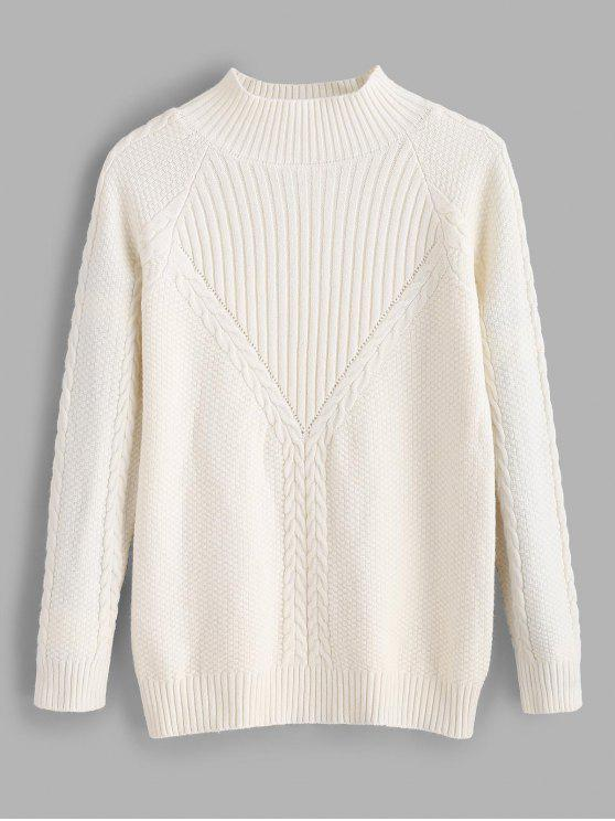 outfits Funnel Neck Rib Cable Knit Sweater - WHITE ONE SIZE