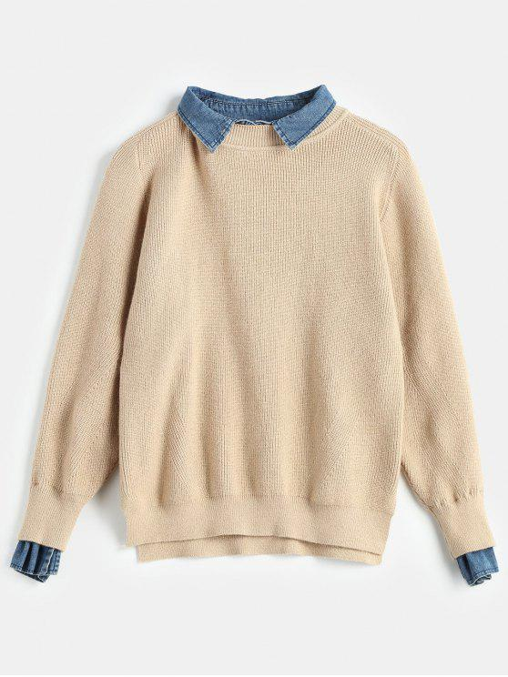 shops Pre-Layered Metallic Thread Sweater - KHAKI ONE SIZE
