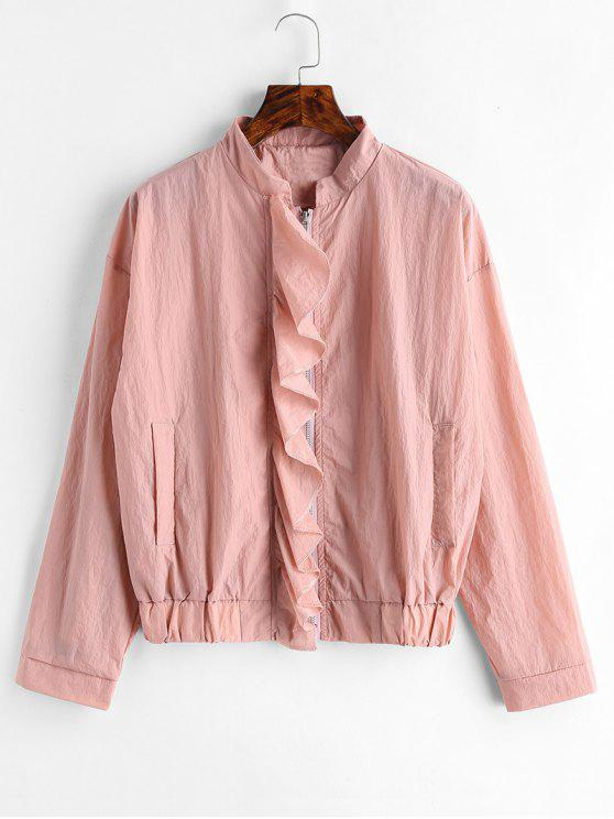 unique Ruffled Zip Up Jacket - LIGHT PINK M