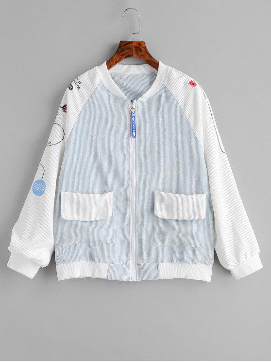 affordable Raglan Sleeve Embroidered Corduroy Jacket - CORAL BLUE S