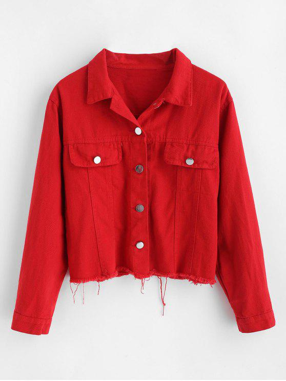 women Letter Patched Frayed Hem Jacket - RED M