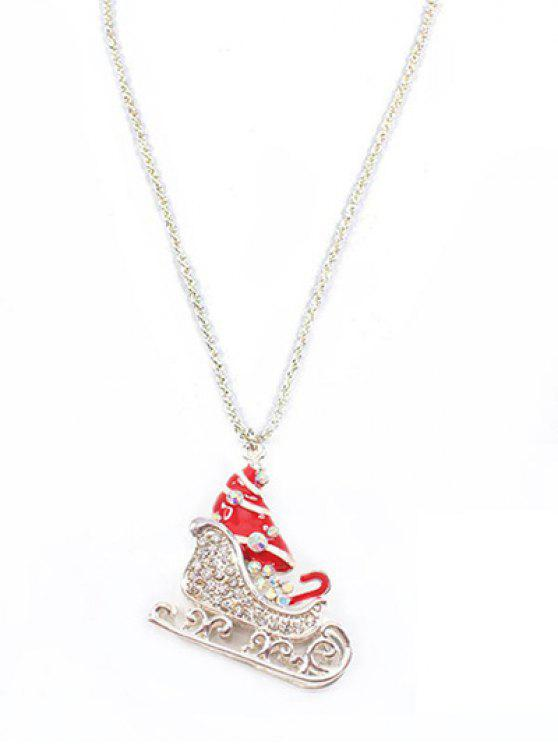 buy Rhinestone Boots Christmas Sweater Necklace - SILVER
