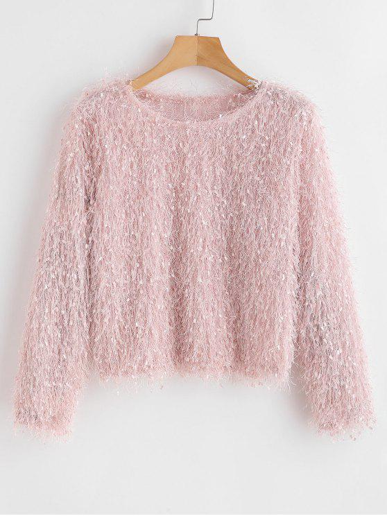 outfit Fringed Long Sleeve Top - PIG PINK ONE SIZE