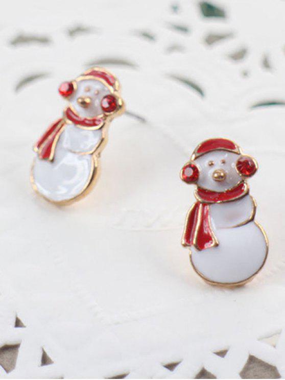 Stilvolle Weihnachtsschneemann-Bolzen-Ohrringe - Weiß