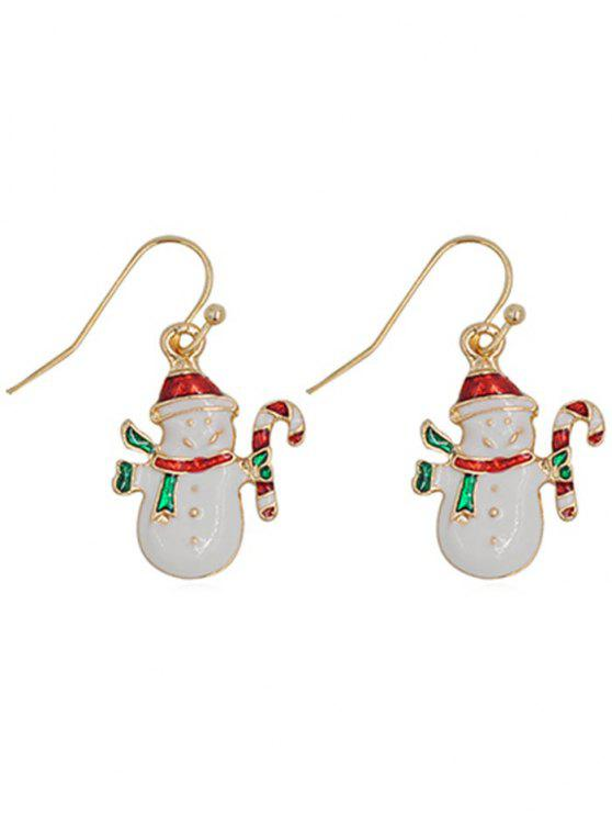 affordable Cute Snowman Alloy Hook Earrings - WHITE