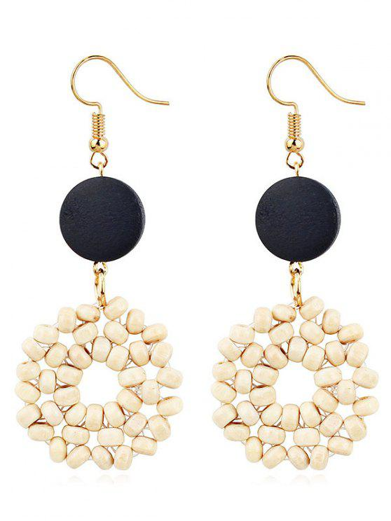 hot Boho Wooden Round Hook Earrings - BLACK