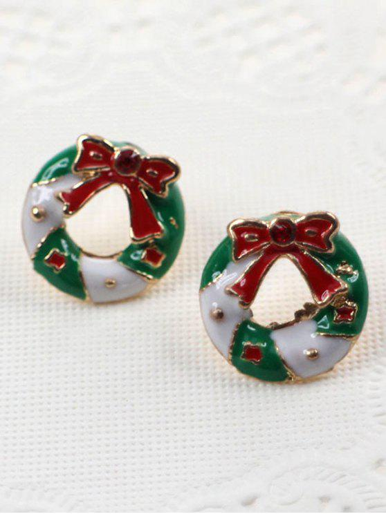 outfits Bowknot Round Christmas Stud Earrings - MULTI