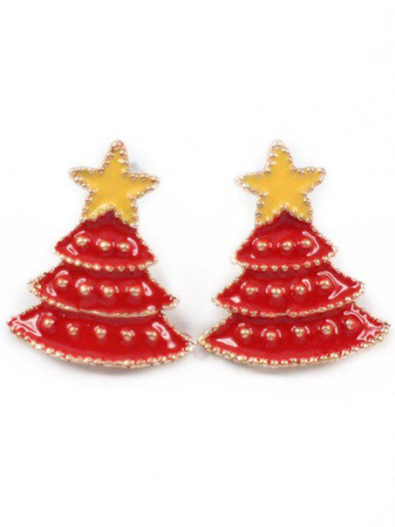 shop Christmas Tree Star Stud Earrings - LAVA RED