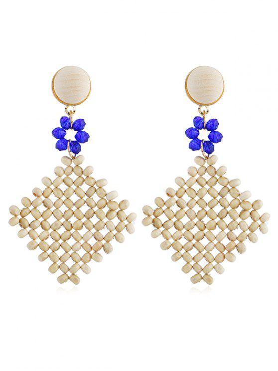 Boucles d'oreilles bohème en bois et losanges - Bleu