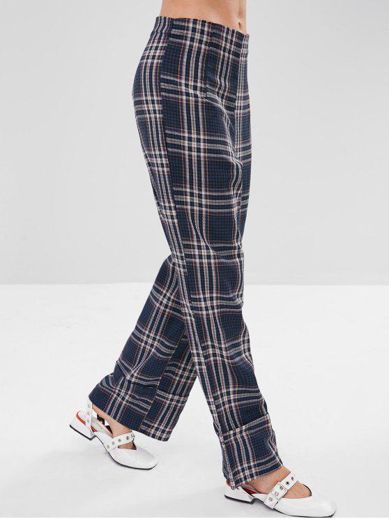 ladies Wide Leg Plaid Casual Pants - MULTI M