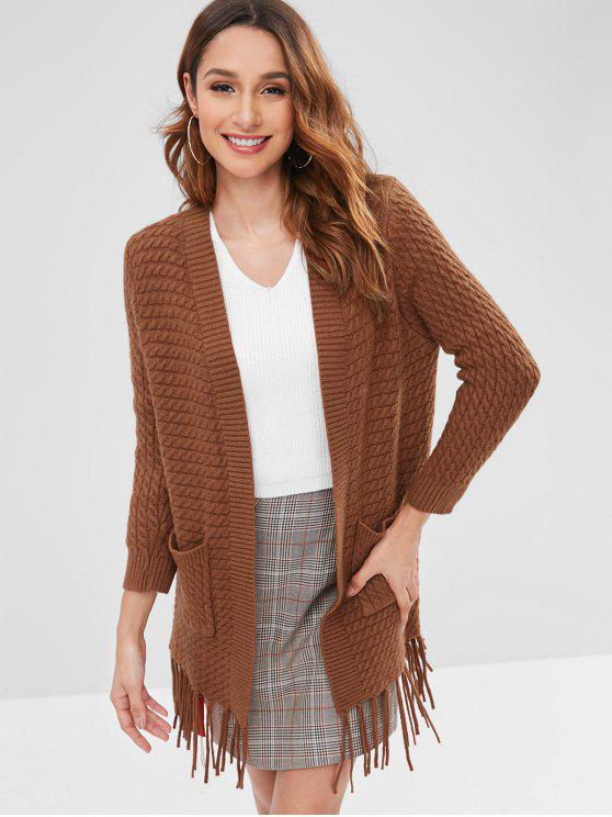 lady Tassels Embellished Solid Color Cardigan - BROWN ONE SIZE